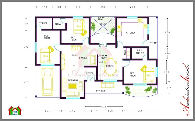 Bed Room House Plan Architecture