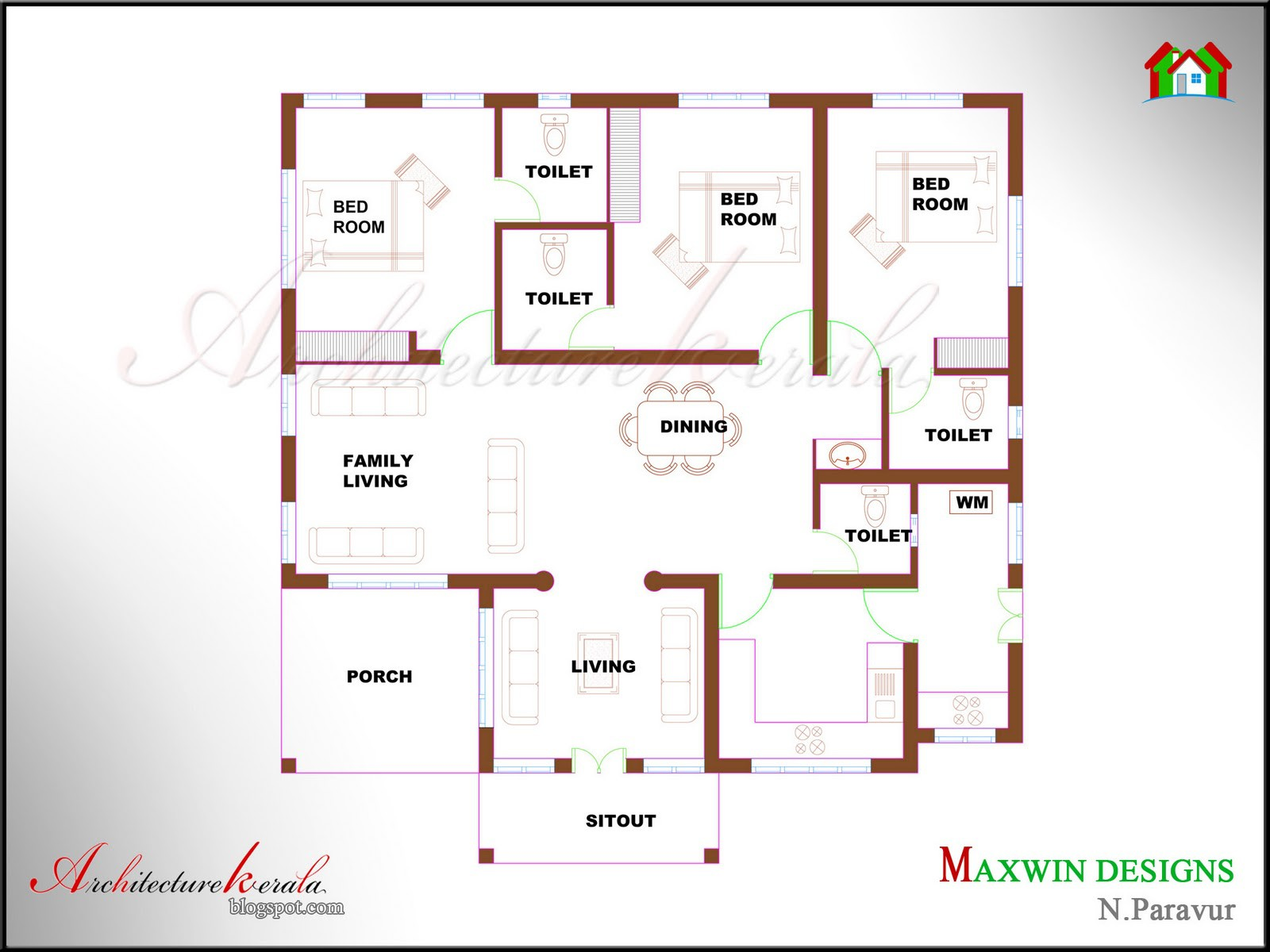 Bhk Single Floor Kerala House Plan Elevation