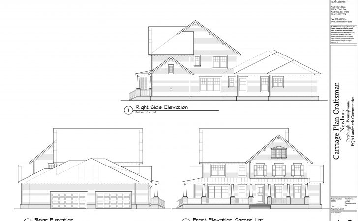 Craftsman Front Rear Right Side Elevations Newbury