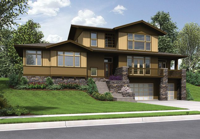Craftsman Styled Sloped Lot House Plan Renicker