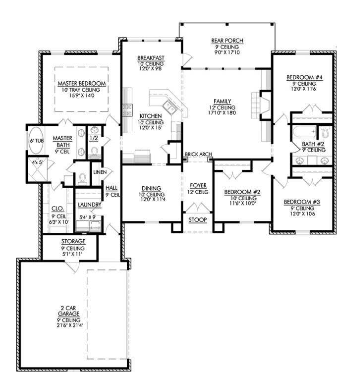 Four Bedroom French Country House Plan
