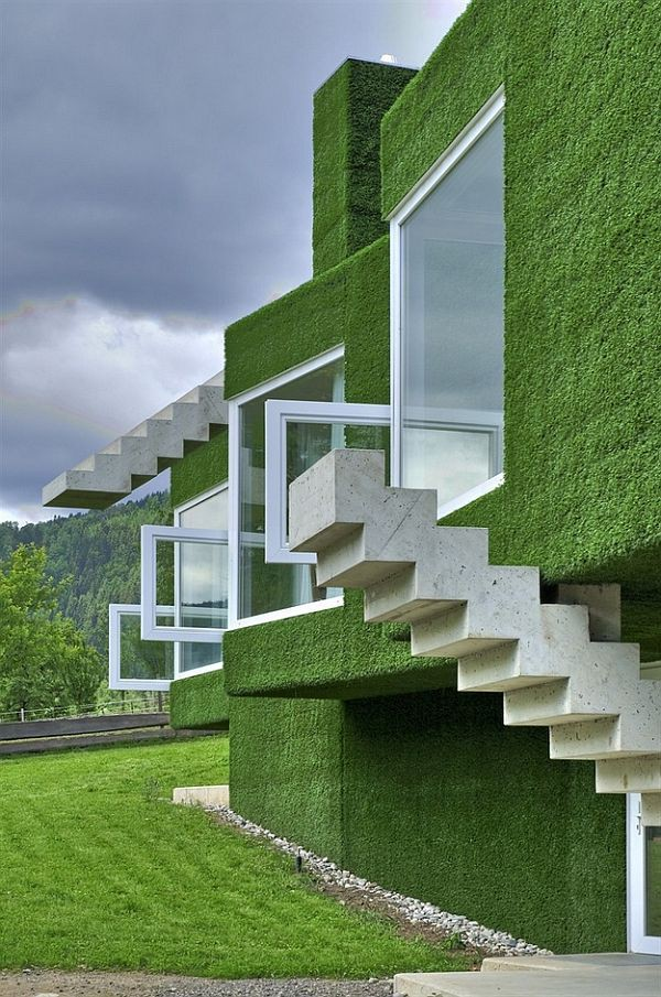 Modern Architecture Home Green Coated Cubic