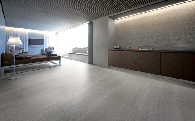 Stone Look Tile Modern Living Room Other Metro