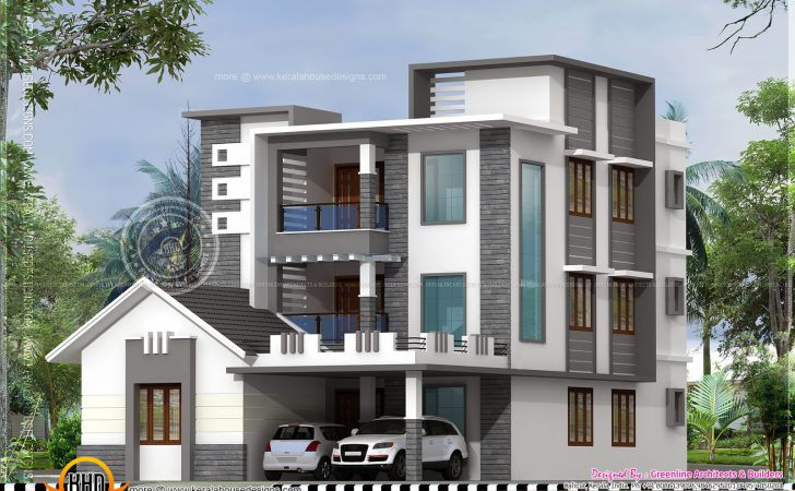 Three Storied Modern Luxury House Indian Plans