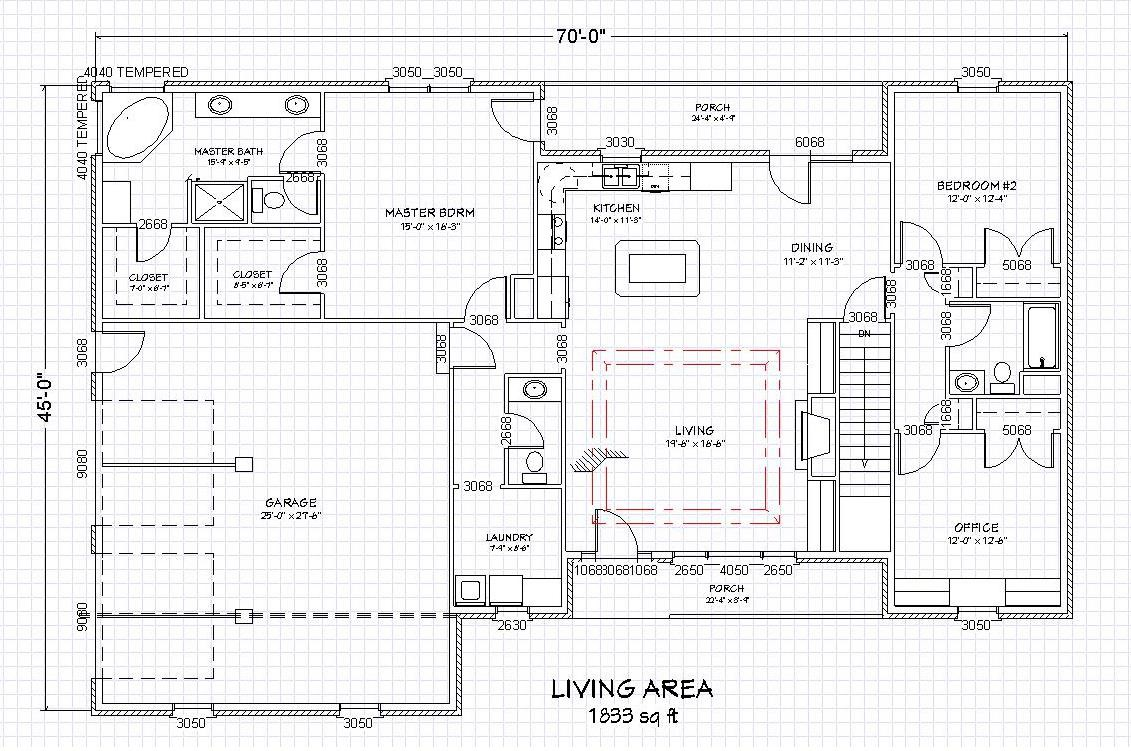Traditional Brick Ranch Home Plan Single Level