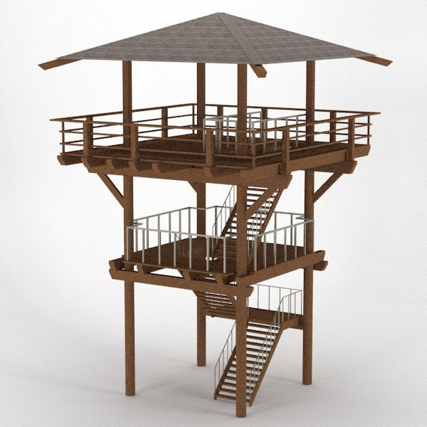 Wood Lookout Tower Dxf